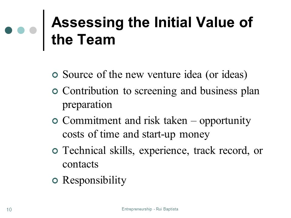 Assessing the Initial Value of the Team
