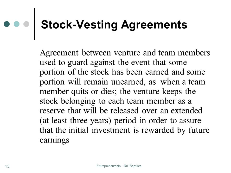 Stock-Vesting Agreements