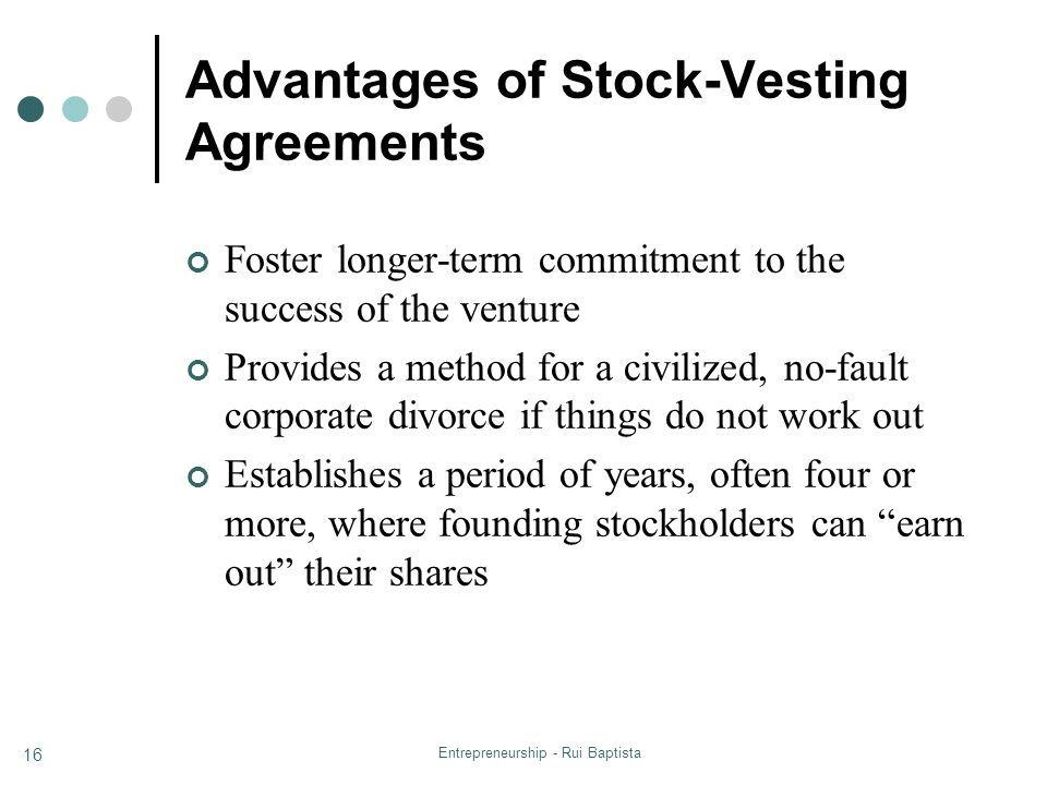 Advantages of Stock-Vesting Agreements