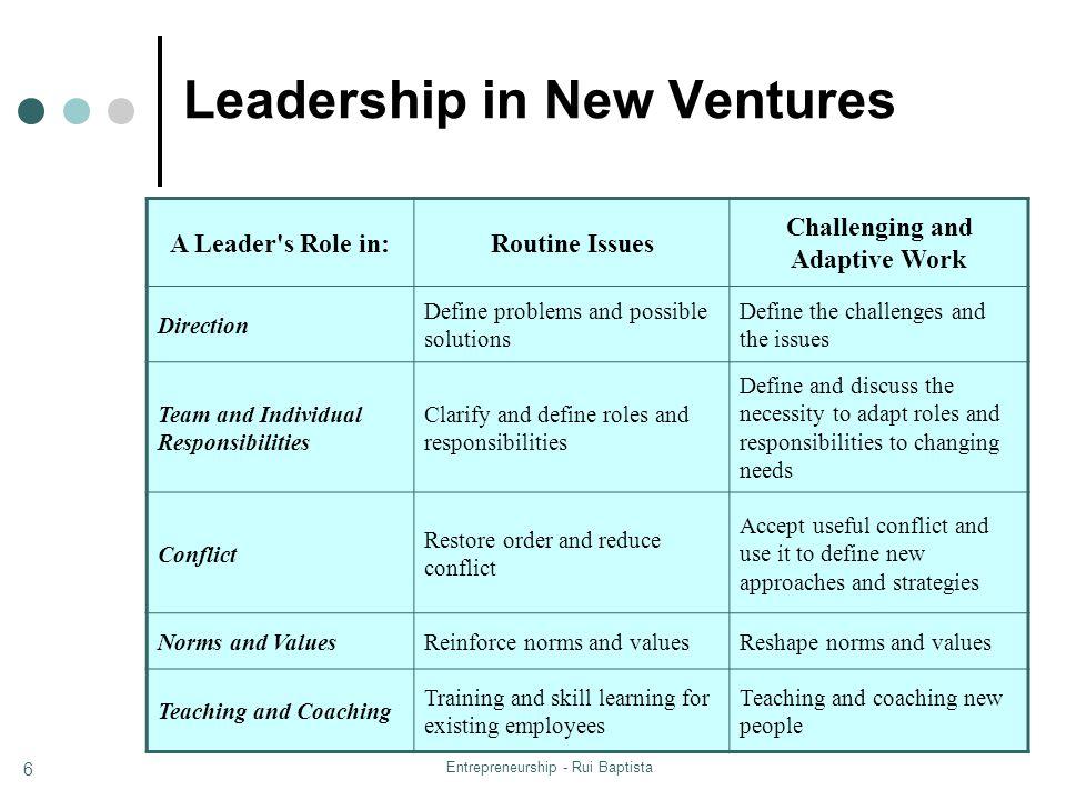 Leadership in New Ventures
