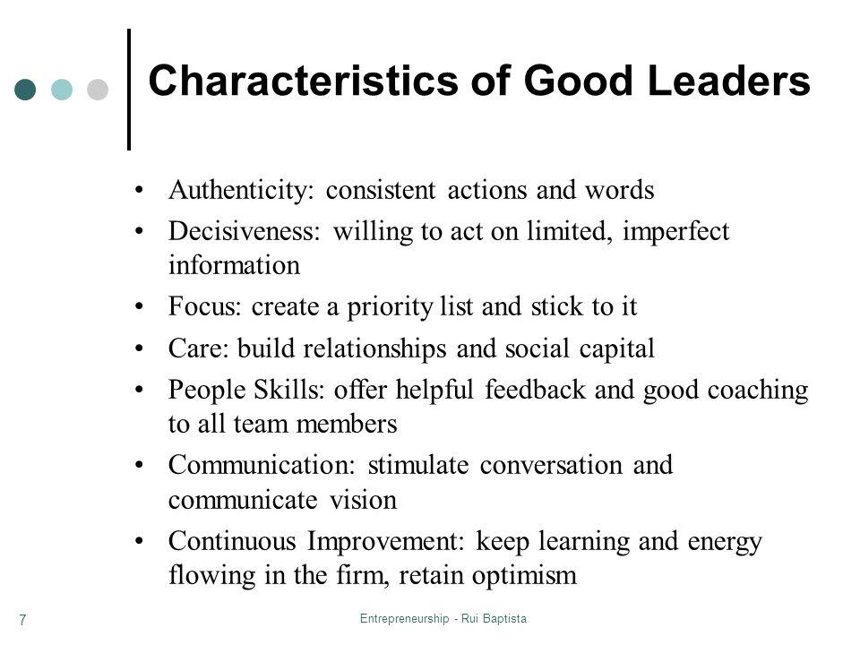 Characteristics of Good Leaders