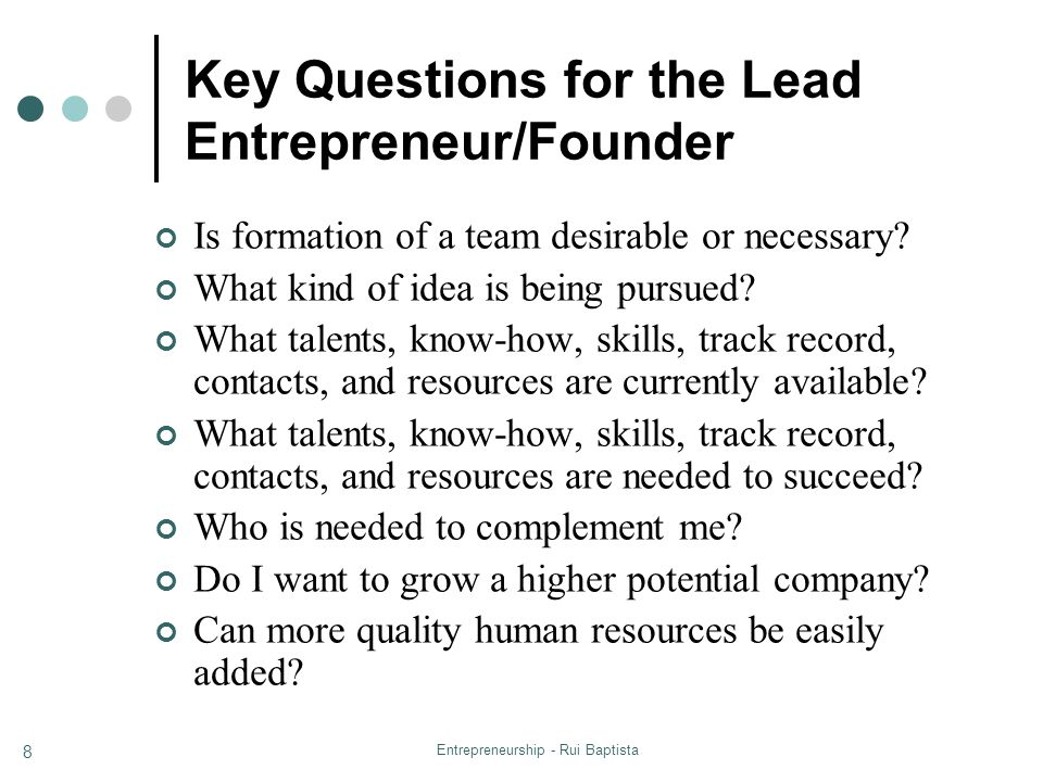 Key Questions for the Lead Entrepreneur/Founder