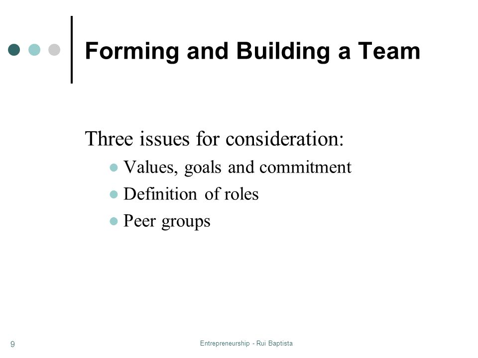Forming and Building a Team