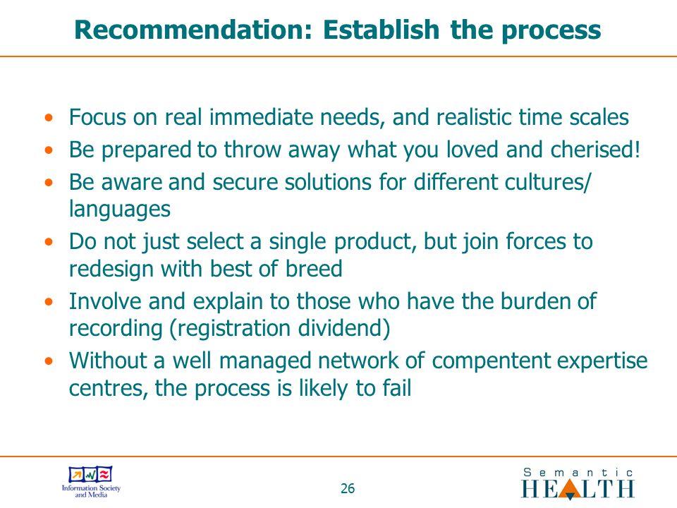 Recommendation: Establish the process