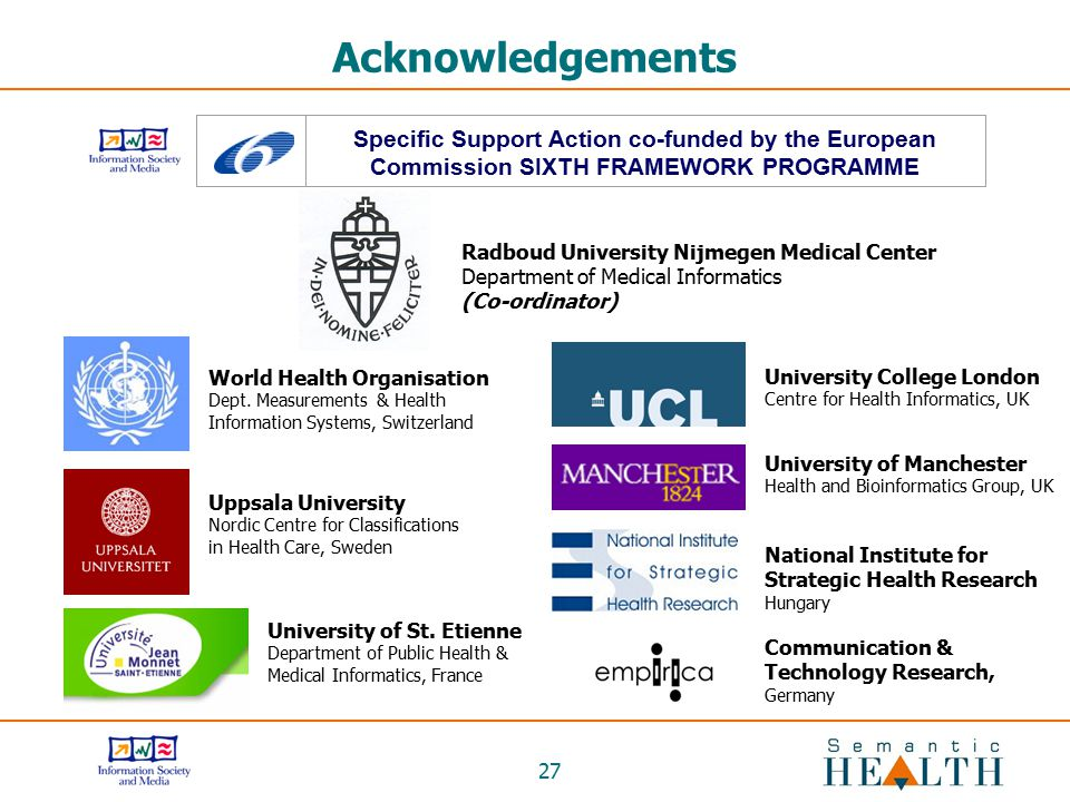 Acknowledgements Specific Support Action co-funded by the European Commission SIXTH FRAMEWORK PROGRAMME.
