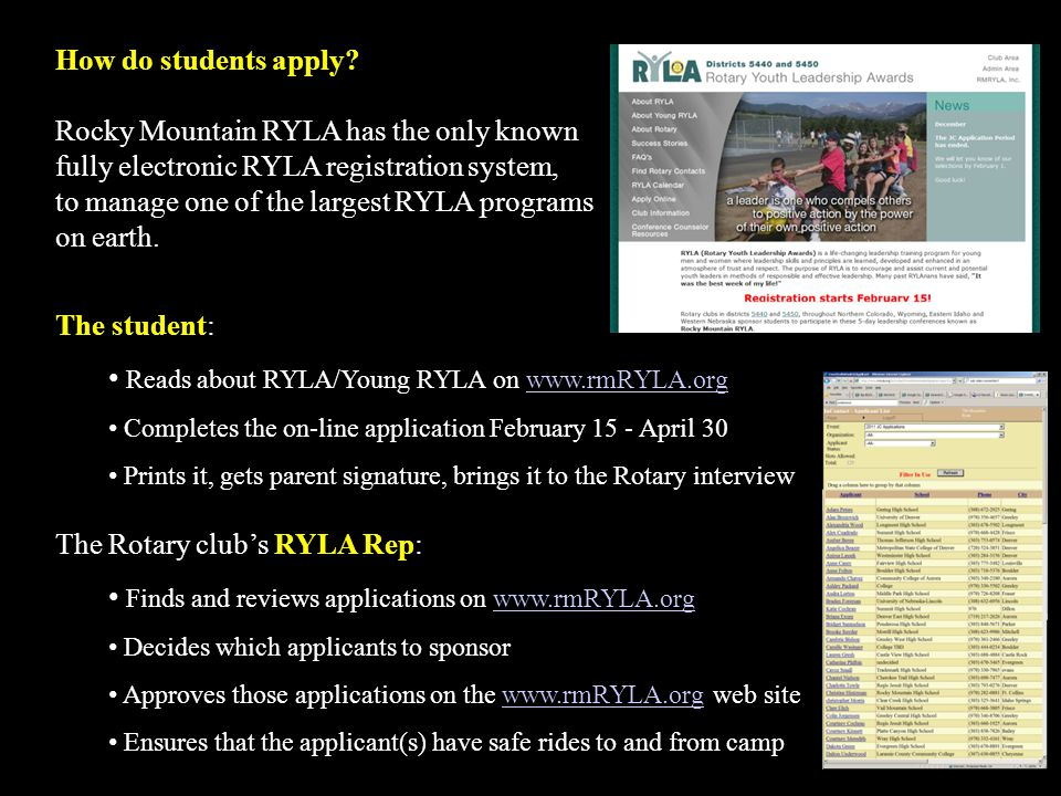Reads about RYLA/Young RYLA on www.rmRYLA.org