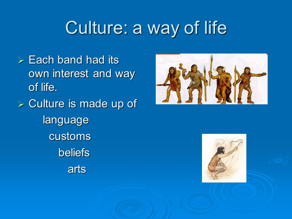 Culture: a way of life Each band had its own interest and way of life.