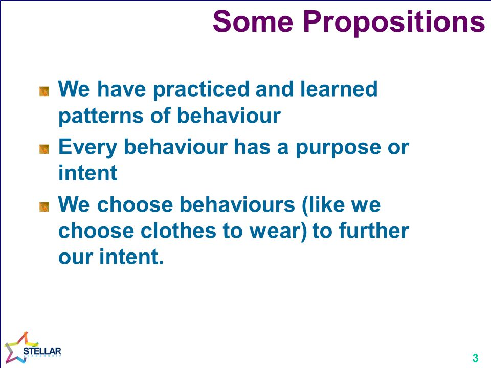 Some Propositions We have practiced and learned patterns of behaviour
