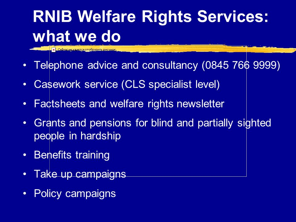 RNIB Welfare Rights Services: what we do