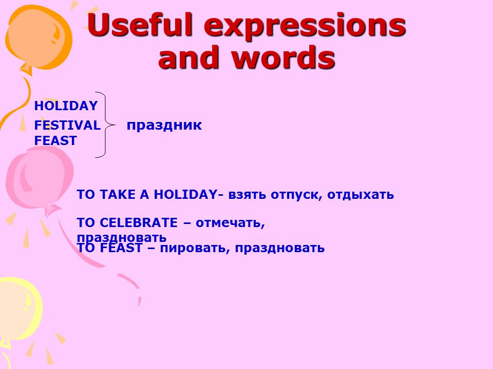 Useful expressions and words