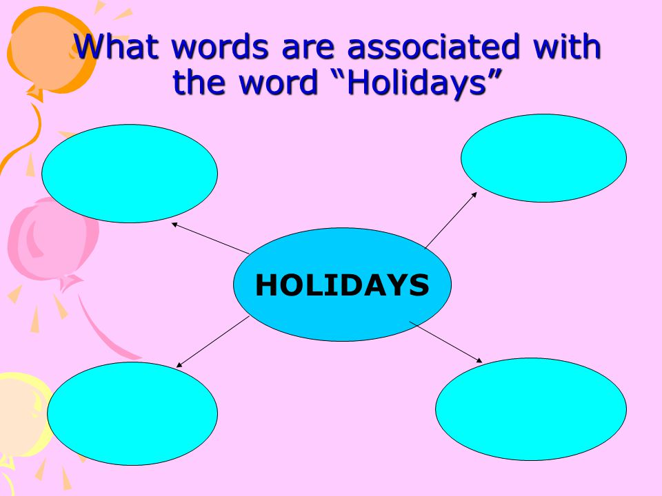 What words are associated with the word Holidays
