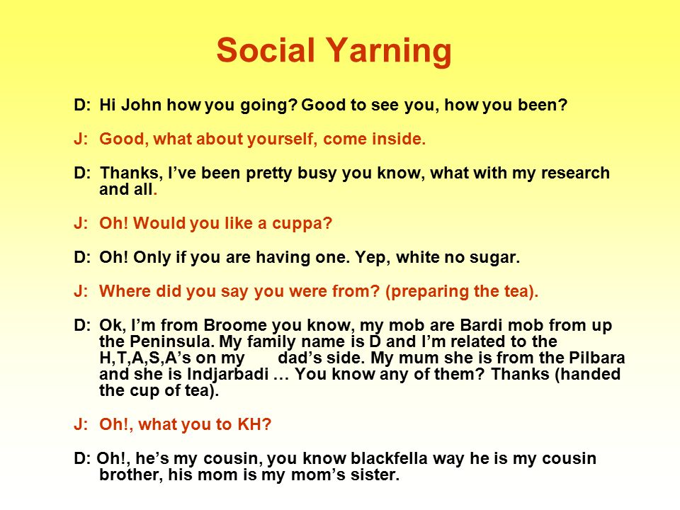 Social Yarning D: Hi John how you going Good to see you, how you been J: Good, what about yourself, come inside.