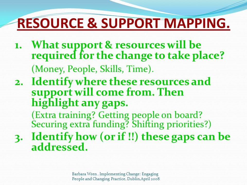 RESOURCE & SUPPORT MAPPING.