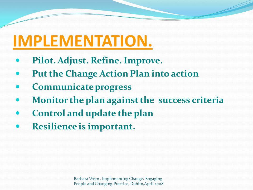 IMPLEMENTATION. Pilot. Adjust. Refine. Improve.