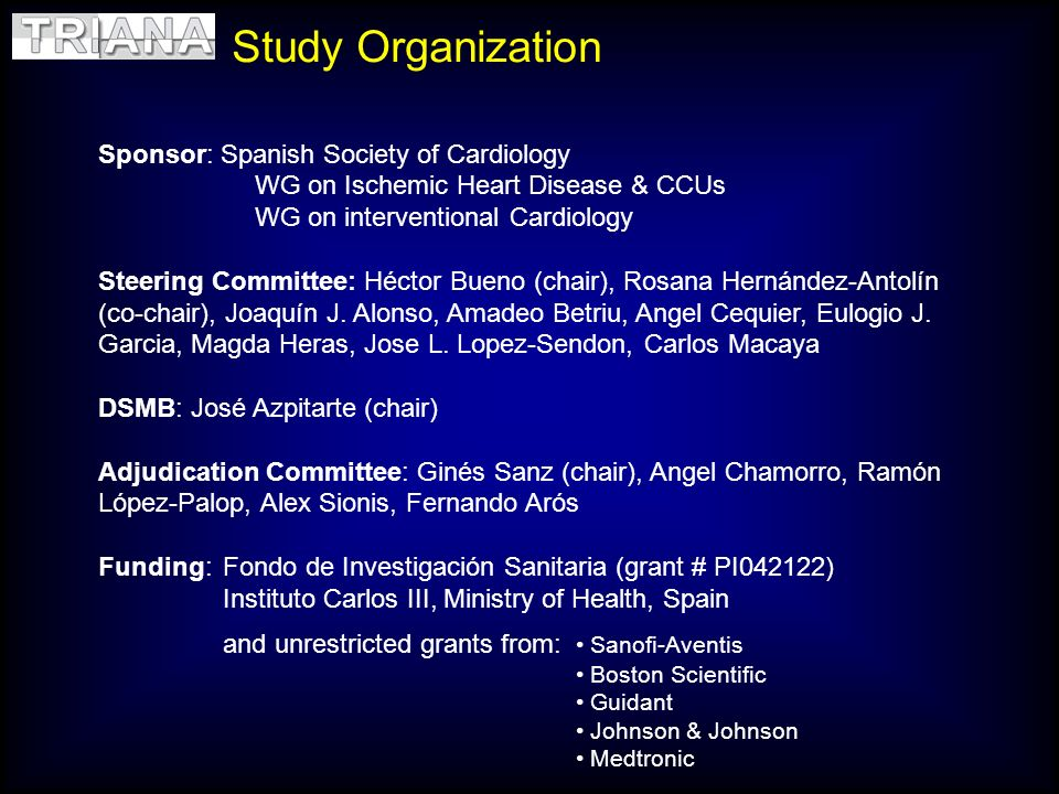 Study Organization Sponsor: Spanish Society of Cardiology