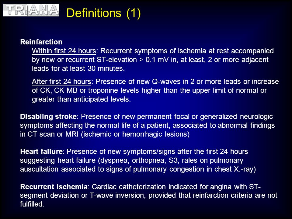 Definitions (1) Reinfarction