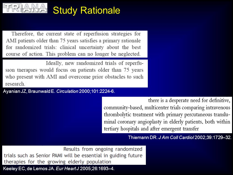 Study Rationale Ayanian JZ, Braunwald E. Circulation 2000;101:2224-6.