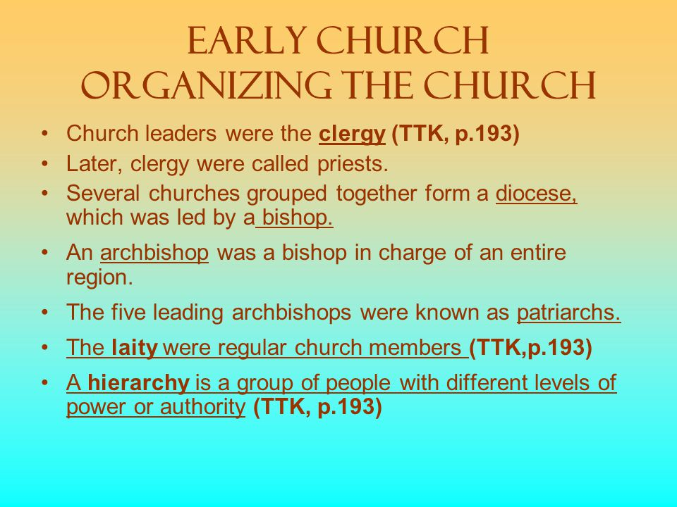 Early Church Organizing the church