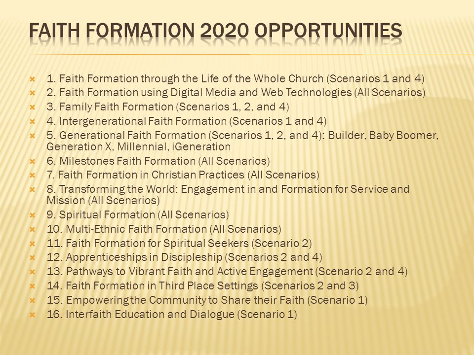 Faith Formation 2020 Opportunities