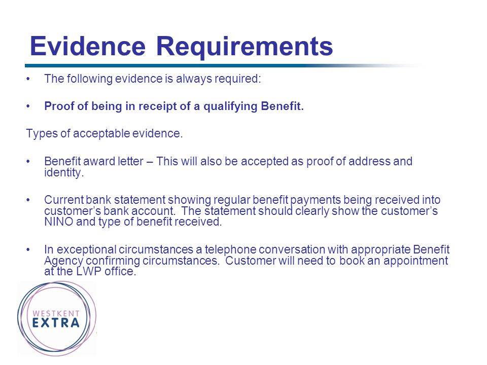 Evidence Requirements