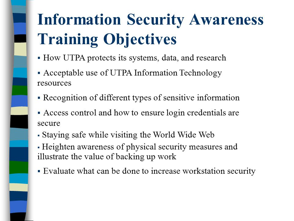 Information Security Awareness Training Objectives