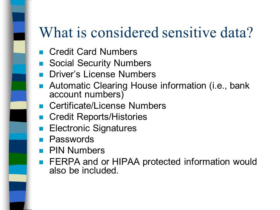 What is considered sensitive data