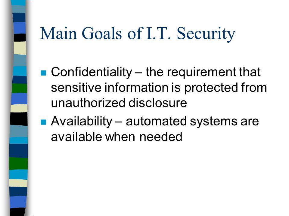 Main Goals of I.T. Security