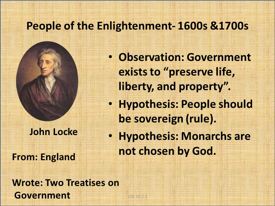 People of the Enlightenment- 1600s &1700s