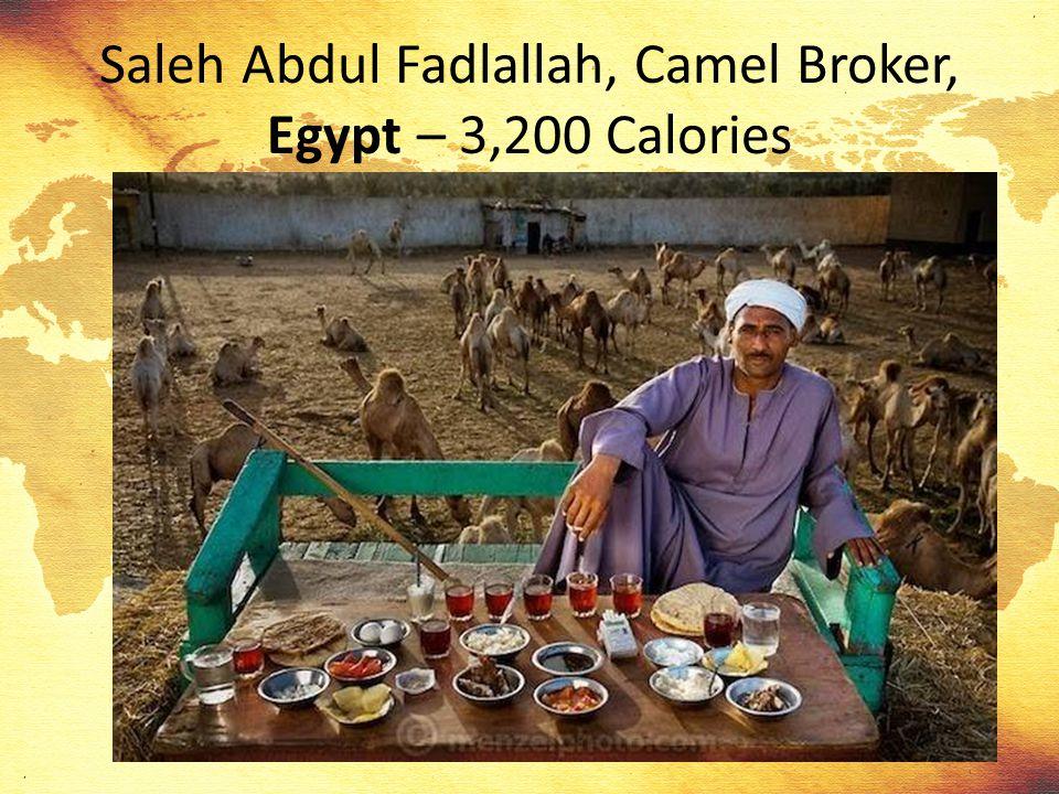 Saleh Abdul Fadlallah, Camel Broker, Egypt – 3,200 Calories