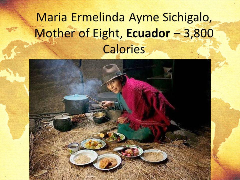 Maria Ermelinda Ayme Sichigalo, Mother of Eight, Ecuador – 3,800 Calories