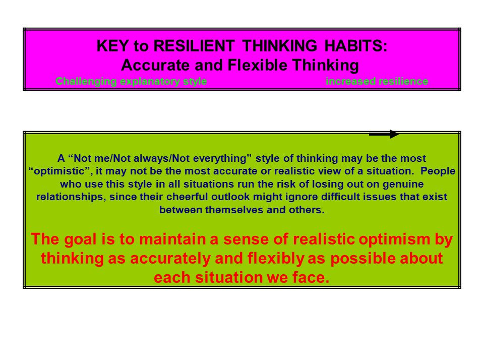 KEY to RESILIENT THINKING HABITS: Accurate and Flexible Thinking