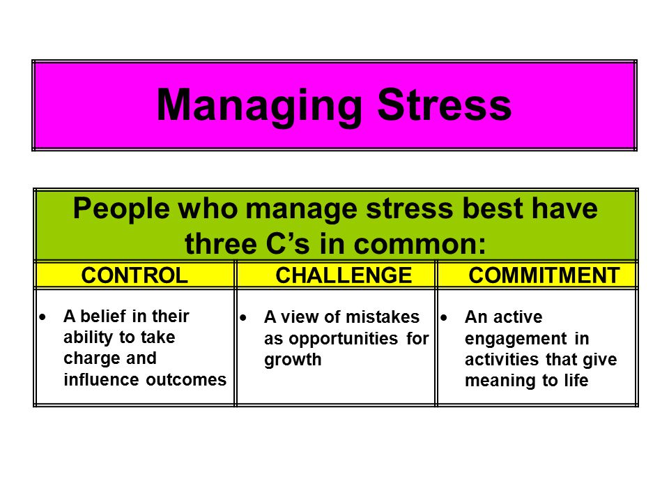 People who manage stress best have three C's in common: