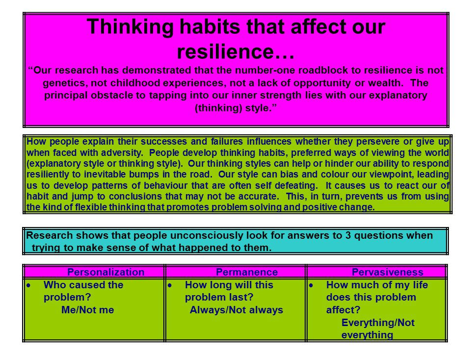 Thinking habits that affect our resilience…