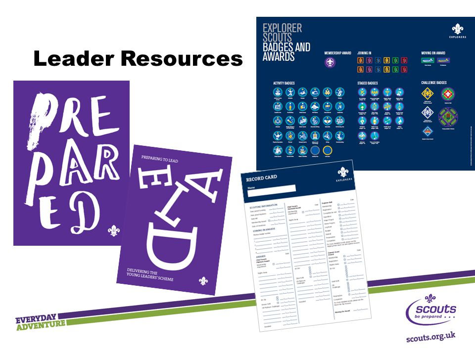 Leader Resources There are now just two key adult resources which help you deliver Scouting in your section:
