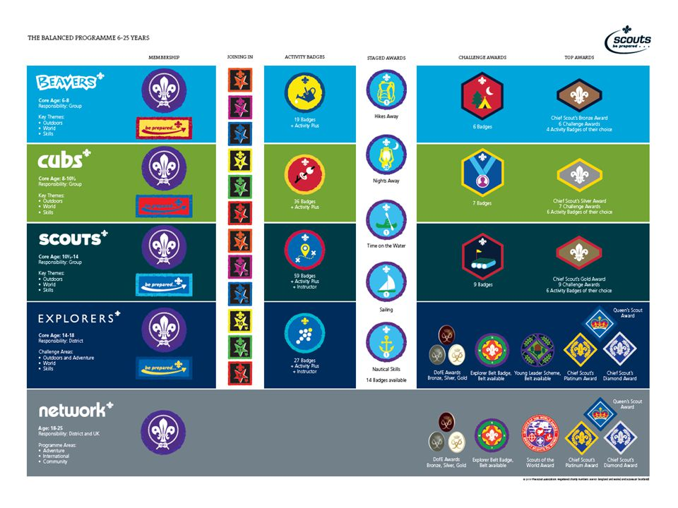 This visual gives you an overview of the programme for each section