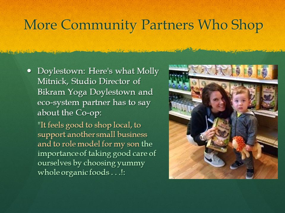 More Community Partners Who Shop