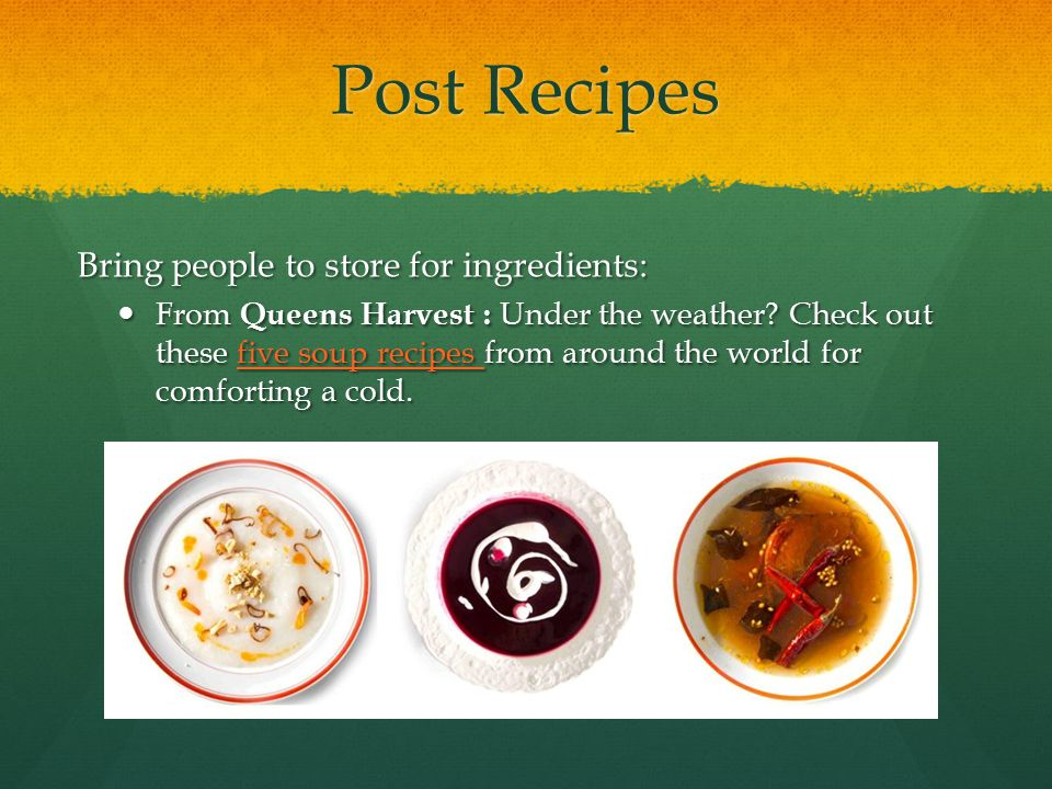 Post Recipes Bring people to store for ingredients: