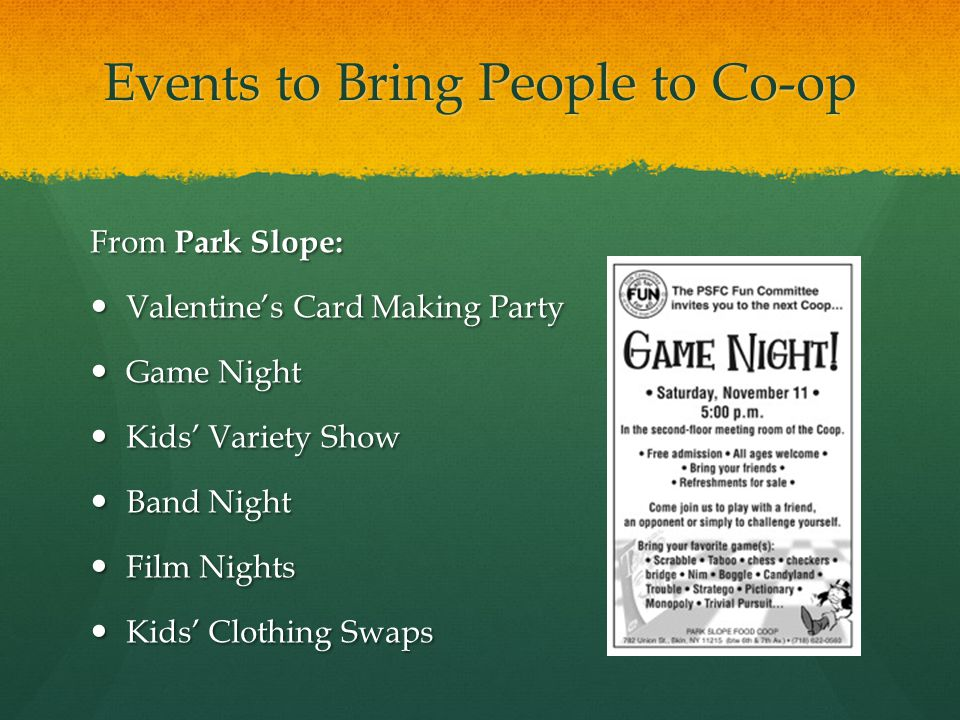 Events to Bring People to Co-op