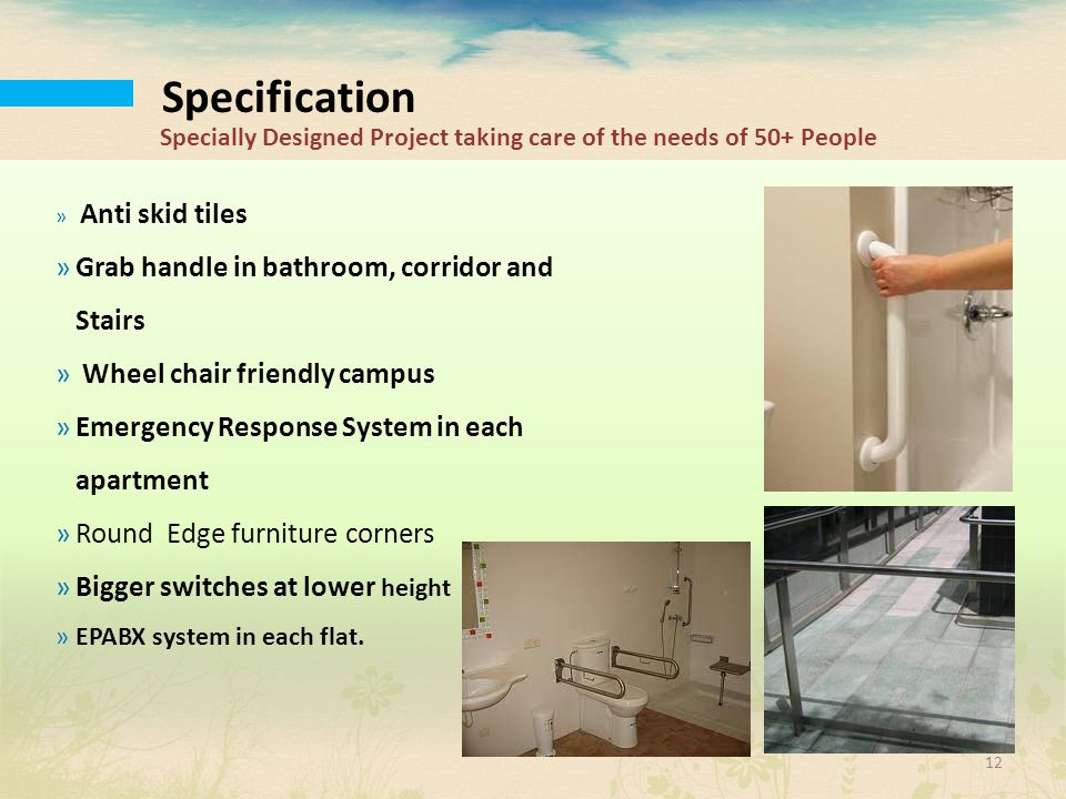 Specification Grab handle in bathroom, corridor and Stairs