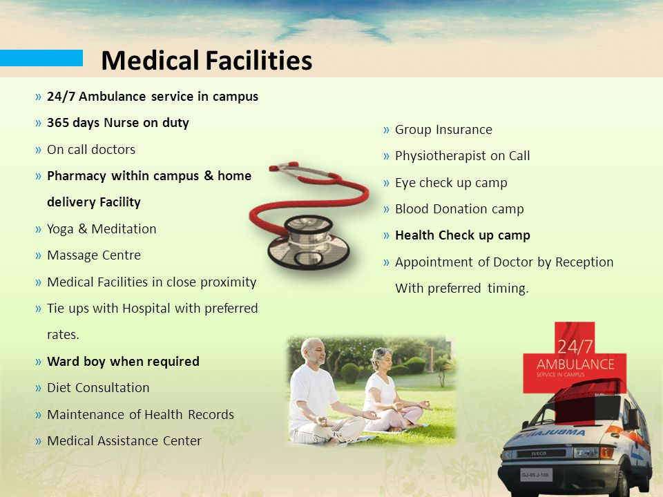 Medical Facilities 24/7 Ambulance service in campus