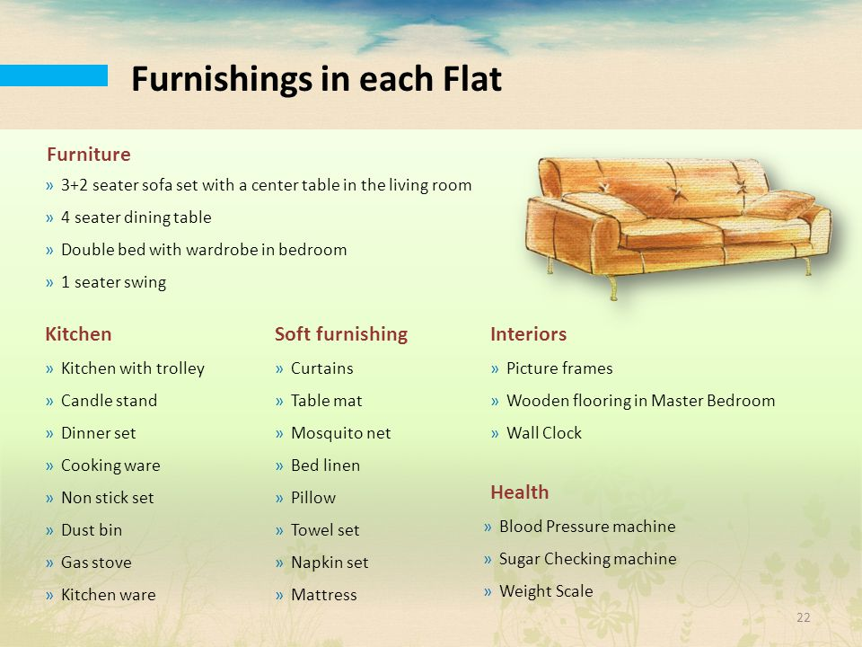 Furnishings in each Flat