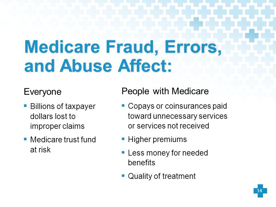 Medicare Fraud, Errors, and Abuse Affect: