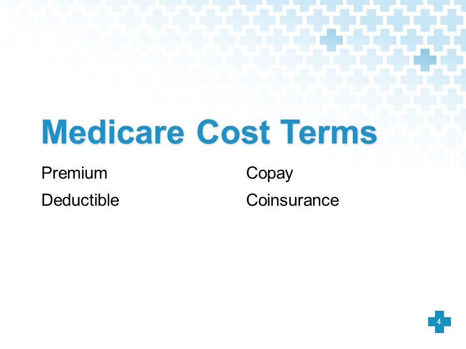 Medicare Cost Terms Premium Deductible Copay Coinsurance