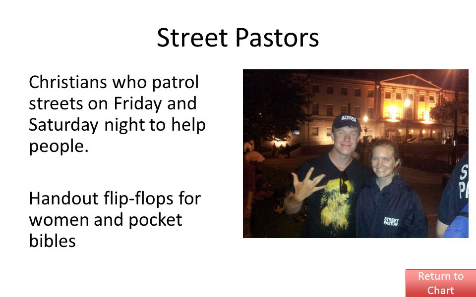 Street Pastors Christians who patrol streets on Friday and Saturday night to help people. Handout flip-flops for women and pocket bibles