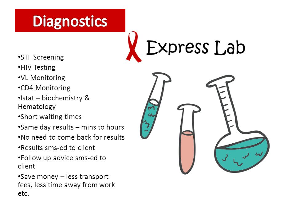 Diagnostics STI Screening HIV Testing VL Monitoring CD4 Monitoring