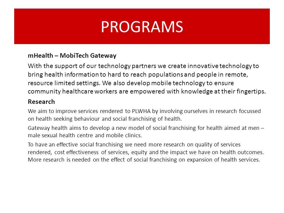 PROGRAMS mHealth – MobiTech Gateway