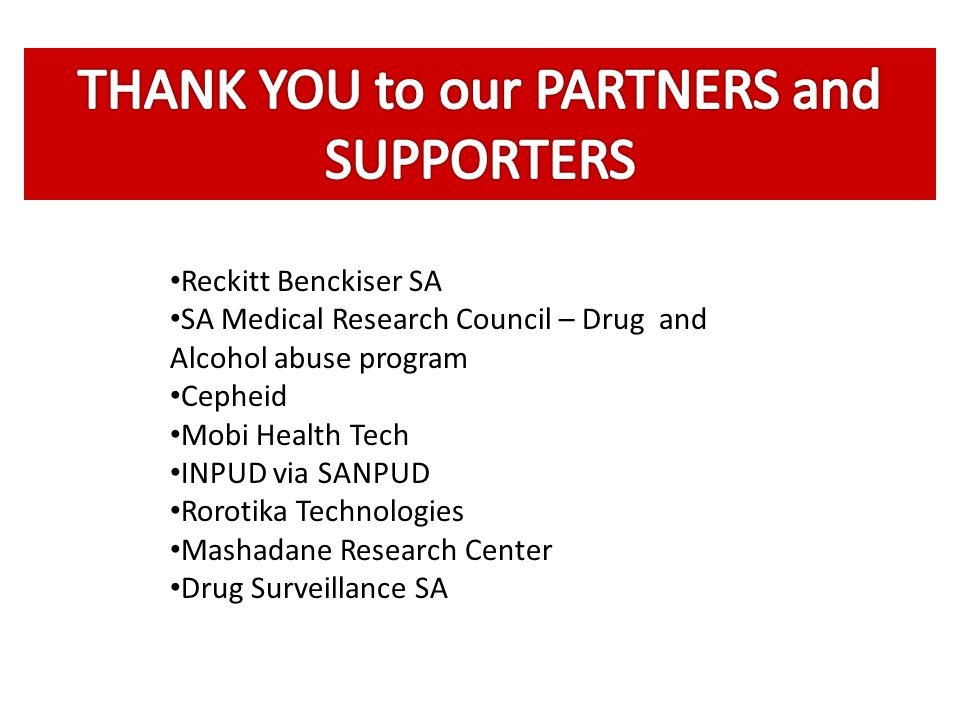 THANK YOU to our PARTNERS and SUPPORTERS
