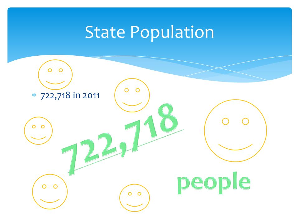 State Population 722,718 in 2011 722,718 people