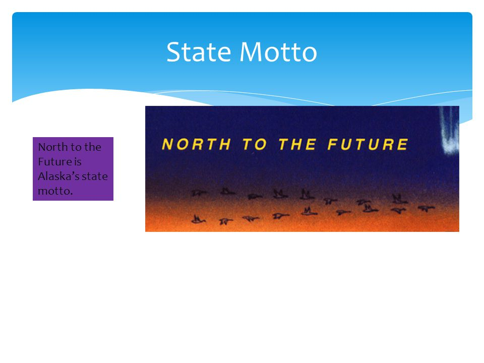 State Motto North to the Future is Alaska's state motto.