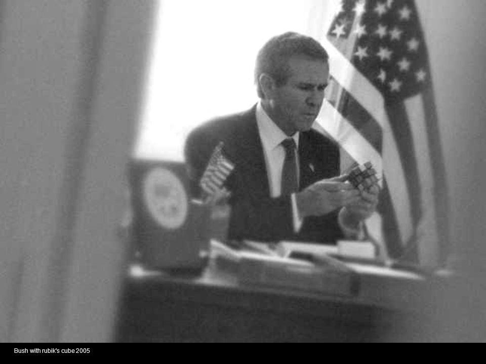 Bush with rubik s cube 2005
